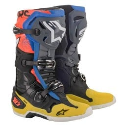 Botas Motocross Alpinestars Tech 10 Black Yellow Blue