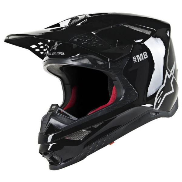 Casco Motocross Alpinestars S-M8 Solid Black Glossy