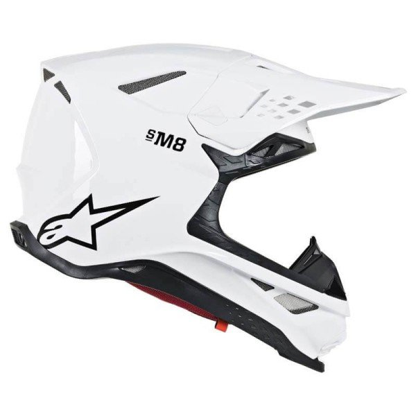 Motocross Helm Alpinestars S-M8 Solid White Glossy