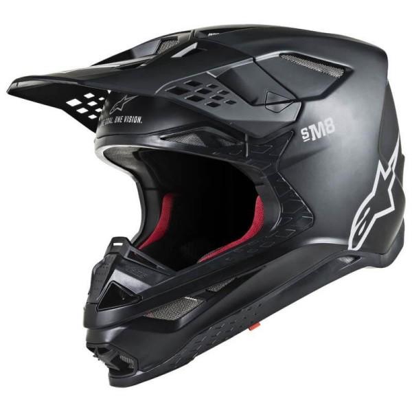 Motocross Helm Alpinestars S-M8 Solid Black Matte