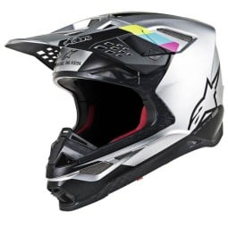 Casco Motocross Alpinestars S-M8 Contact Silver Black,Caschi Motocross