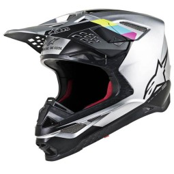 Casque Motocross Alpinestars S-M8 Contact Silver Black,Casques Motocross