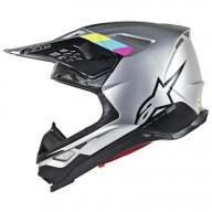 Motocross Helmet Alpinestars S-M8 Contact Silver Black