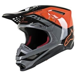 Casco Motocross Alpinestars S-M8 Triple Orange Grey,Caschi Motocross