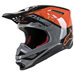 Motocross Helmet Alpinestars S-M8 Triple Orange Grey
