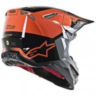 Motocross Helm Alpinestars S-M8 Triple Orange Grey