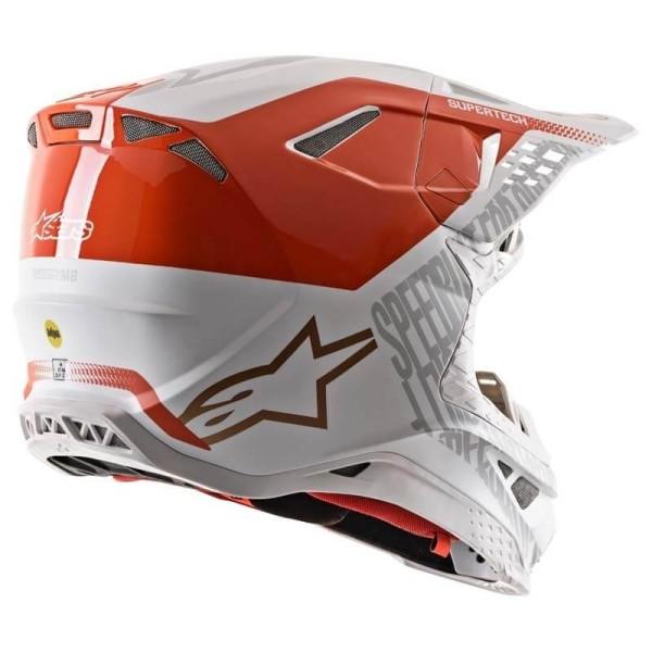 Motocross Helm Alpinestars S-M8 Triple Orange White Gold
