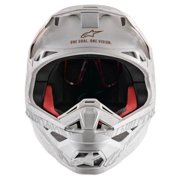 Casque Motocross Alpinestars S-M8 Triple Orange White Gold