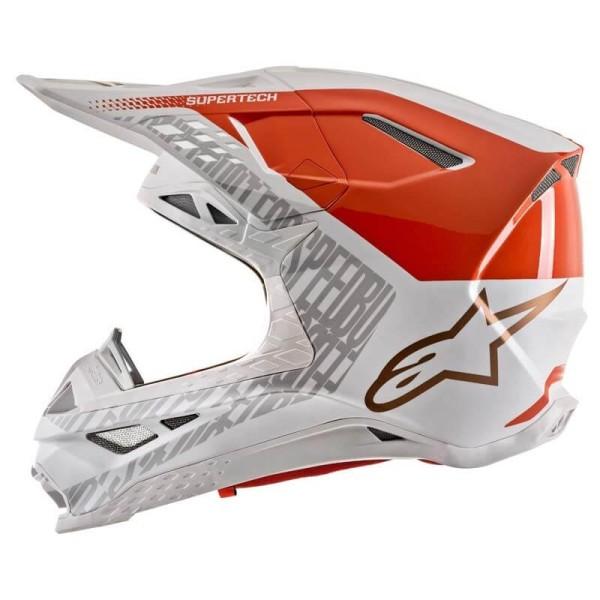 Casco de Motocross Alpinestars S-M8 Triple Orange White Gold