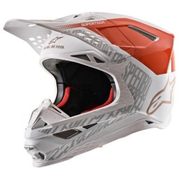 Casco Motocross Alpinestars S-M8 Triple Orange White Gold,Caschi Motocross