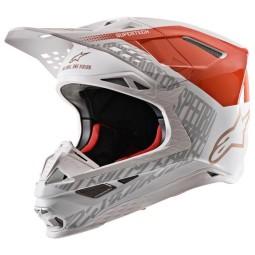 Motocross Helmet Alpinestars S-M8 Triple Orange White Gold,Motocross Helmets