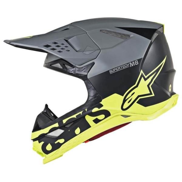 Motocross Helm Alpinestars S-M8 Radium Grey Yellow