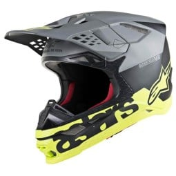 Casco Motocross Alpinestars S-M8 Radium Grey Yellow