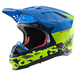 Casco Motocross Alpinestars S-M8 Radium Aqua Yellow,Caschi Motocross