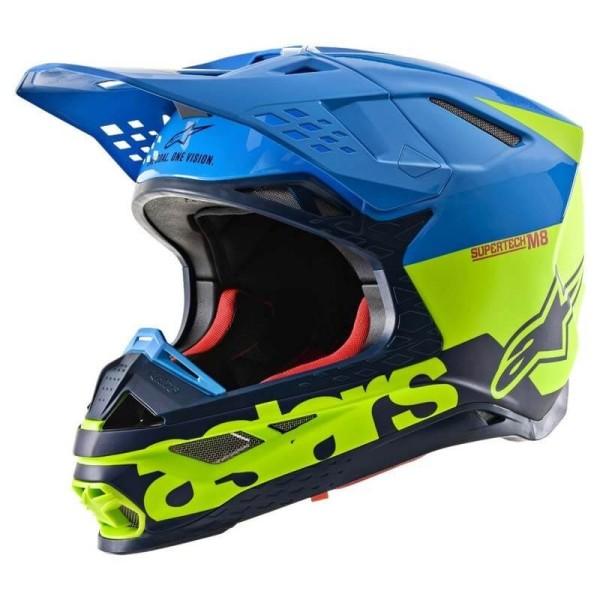 Casco Motocross Alpinestars S-M8 Radium Aqua Yellow