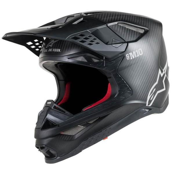 Casco de Motocross Alpinestars S-M10 Solid Black Matte Carbon