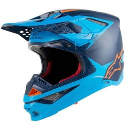 Motocross Helm Alpinestars S-M10 Meta Aqua Orange