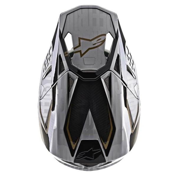 Motocross Helm Alpinestars S-M10 Alloy Silver Black