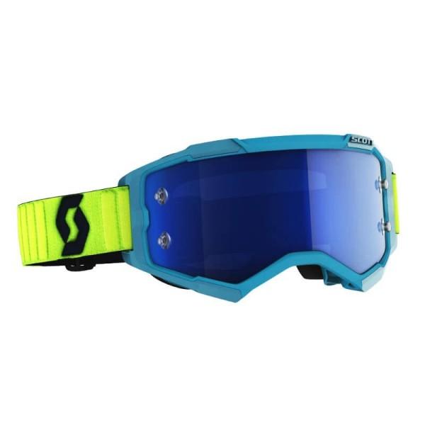 Motocross brille Scott Fury MX Enduro blau gelb fluo