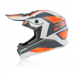 Motocross kind helm Acerbis Steel orange grey