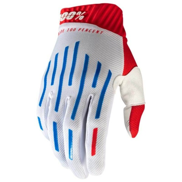 Motocross Gloves 100% RIDEFIT Red White Blue