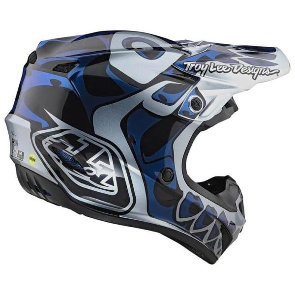 Motocross Helm Troy Lee Designs SE4 Polyacrylite Skully silver
