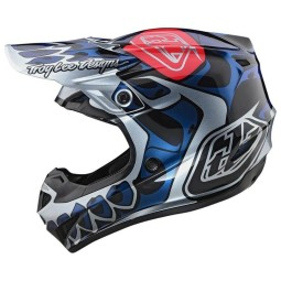 Casco cross Troy Lee Designs SE4 Polyacrylite Skully silver,Caschi Motocross