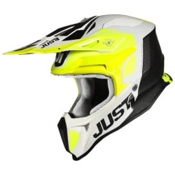 Casco cross Just1 J18\nPulsar yellow white black,Caschi Motocross