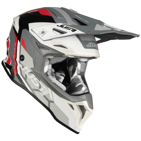 Just1 helmet J39 Reactor white red grey