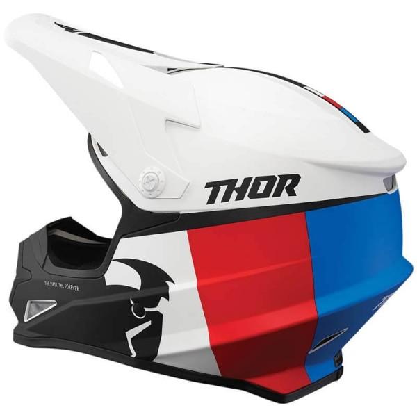 Motocross Helmet Thor Sector Racer white blue red