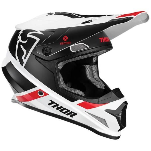 Motocrosshelm Thor Sector MIPS Split white black