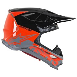 Motocross Helm Alpinestars S-M8 Radium gray red