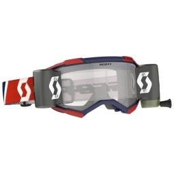 Lunettes motocross Scott Fury WFS rouge bleu roll-off