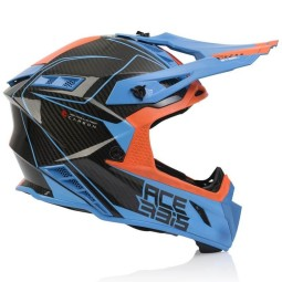 Acerbis Steel Carbon Motocrosshelm orange blau