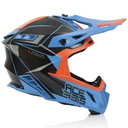 Casco motocross Acerbis Steel Carbon naranja azul