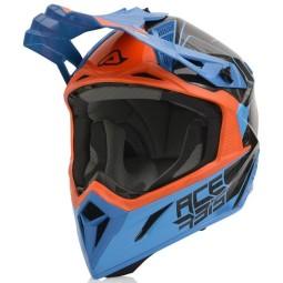 Acerbis Steel Carbon motocross helmet orange blue