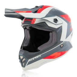 Motocross kind helm Acerbis Steel rot grau