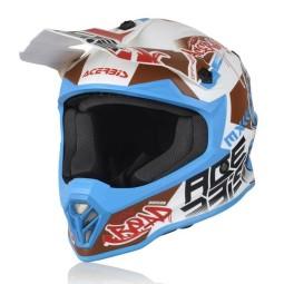 Motocross kind helm Acerbis Steel weiss blau