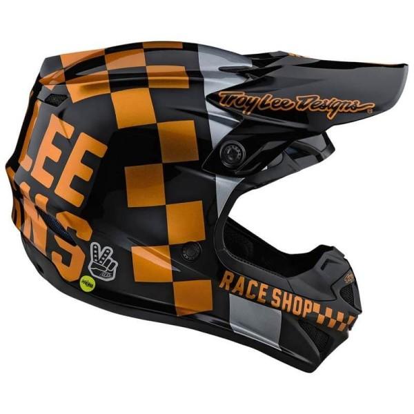 Motocross Helmet Troy Lee Designs SE4 Polyacrylite Checker black gold