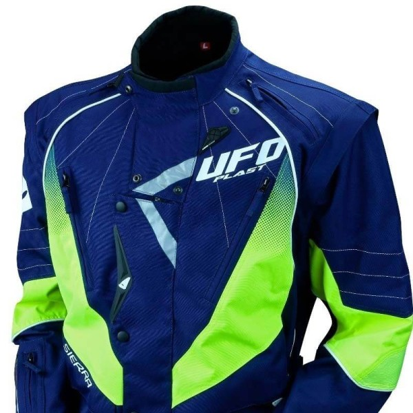 Chaqueta moto Ufo Plast Enduro azul amarillo fluo