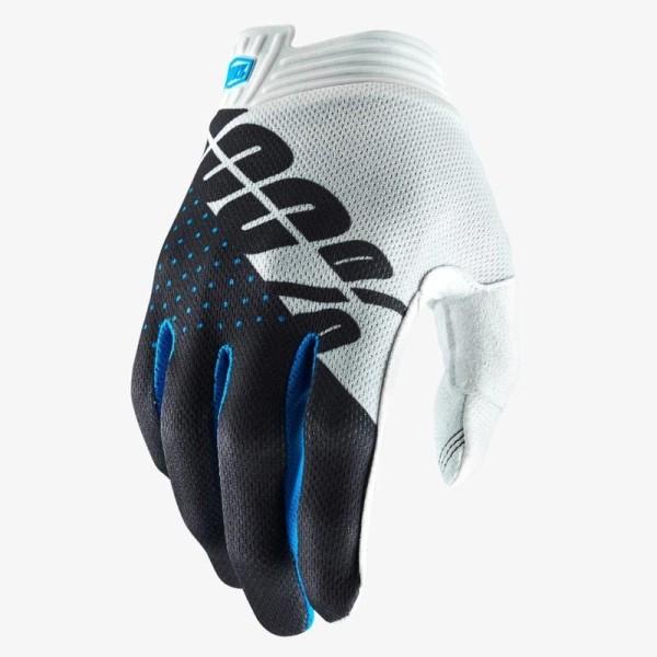Motocross Gloves 100% iTRACK White Grey