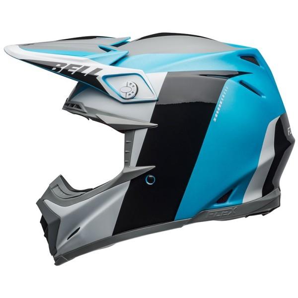 Casque Motocross BELL HELMETS MOTO-9 FLEX Division White Blue