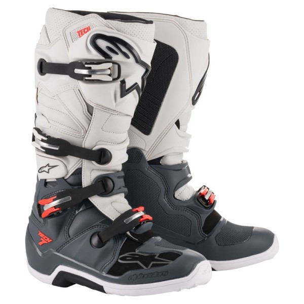 Motocross Boots Alpinestars Tech 7 Light Grey