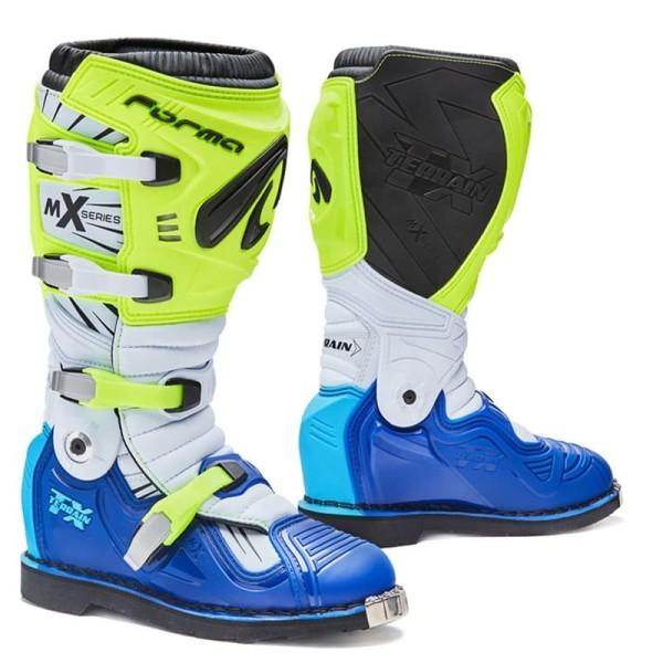 Bottes Motocross FORMA Terrain TX Jaune Fluo Bleu