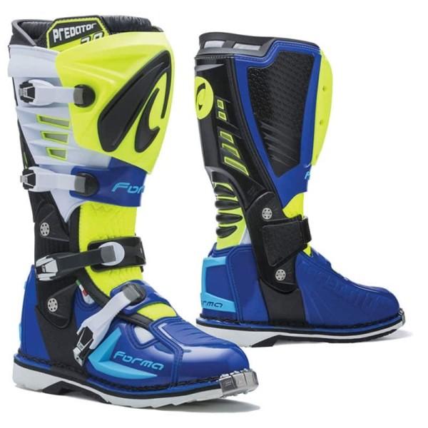 Motocross Boots FORMA Predator 2.0 Yellow Fluo Blue