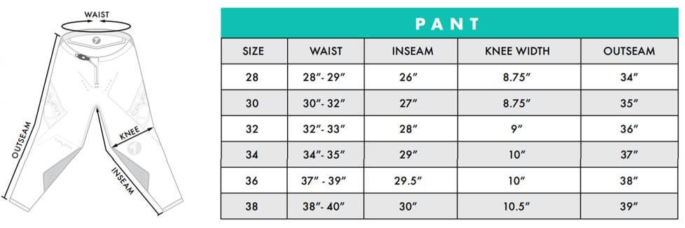 Seven MX Zero Pant Size Chart