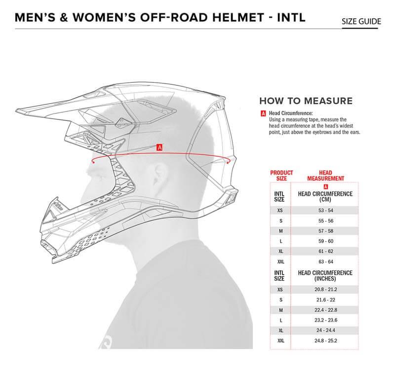 Alpinestars Size Chart Helmet S-M8 S-M10