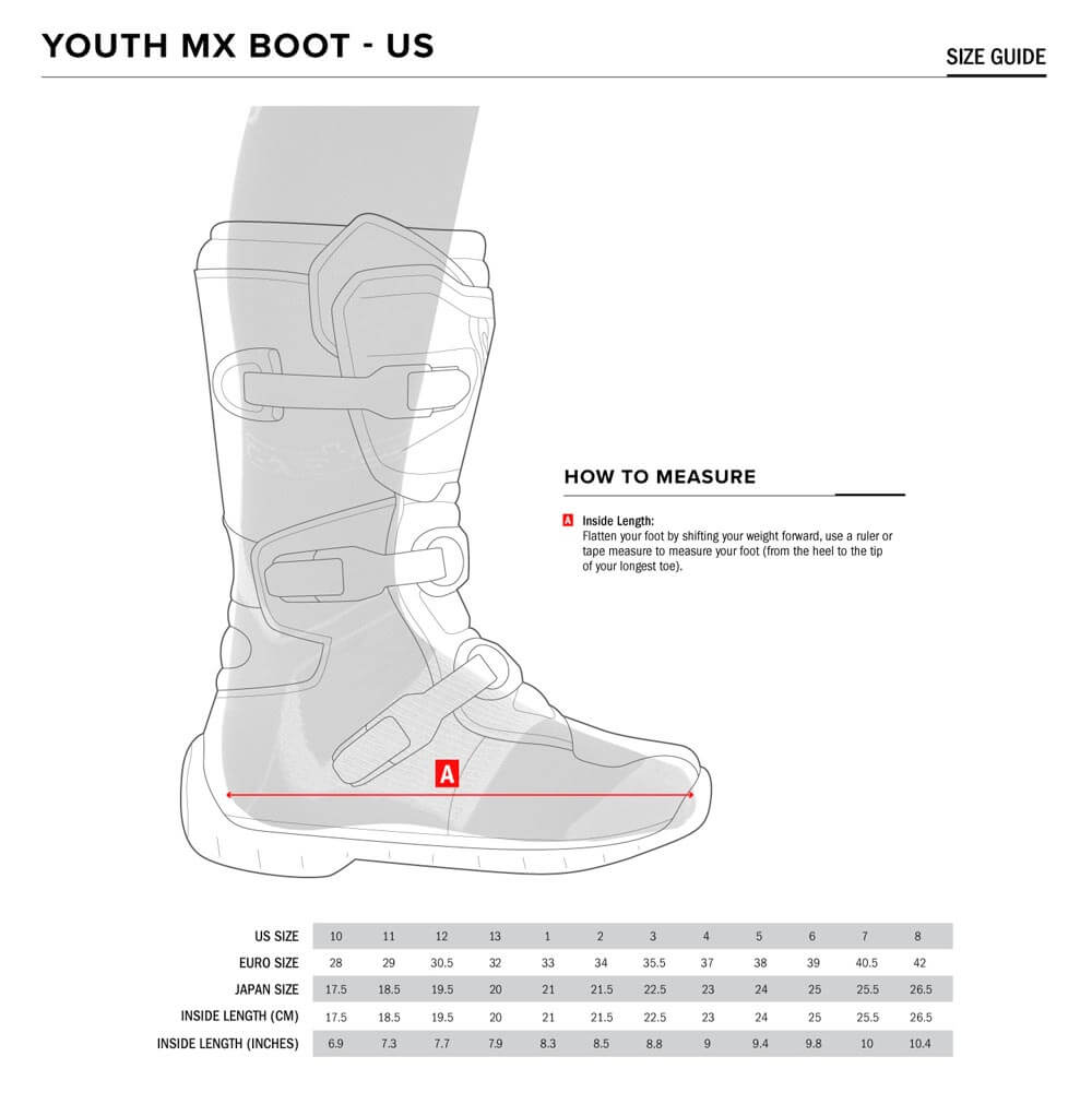 Alpinestars Size Chart Youth Boots