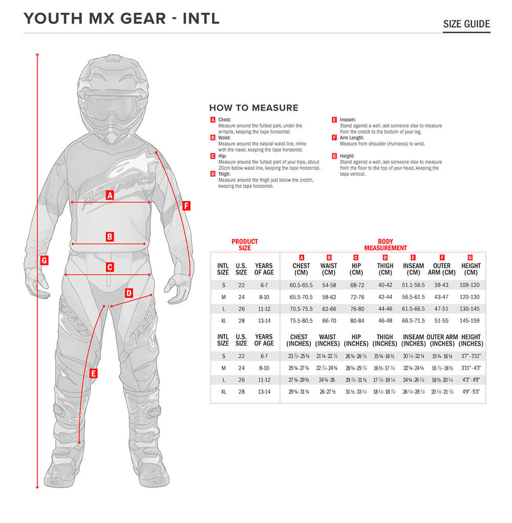 Alpinestars Size Chart Youth MX Gear