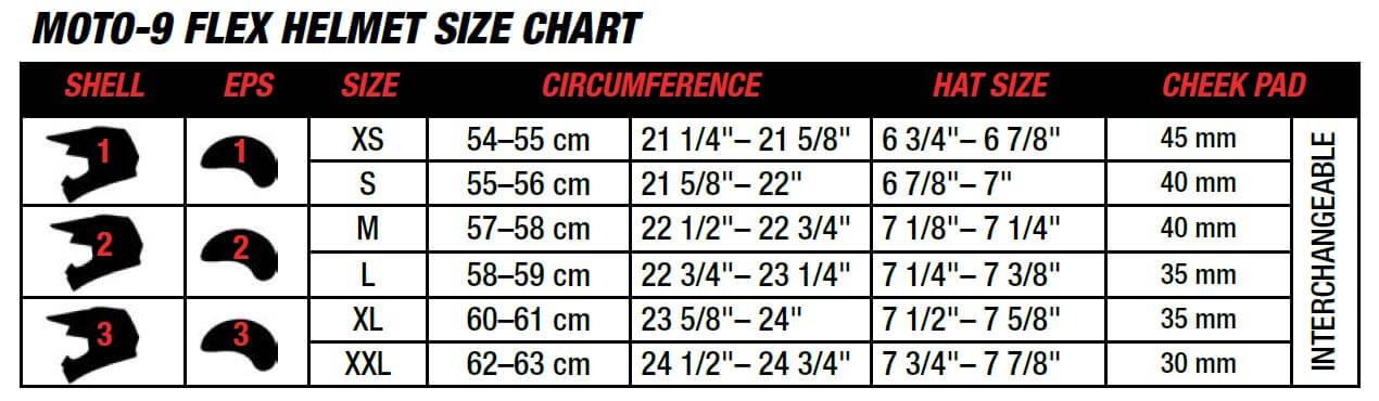 BELL Moto 9 Flex Size Chart